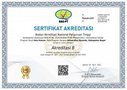 Sertifikat Akreditasi Program Studi Ilmu Hukum Fakultas Hukum Universitas Djuanda Bogor