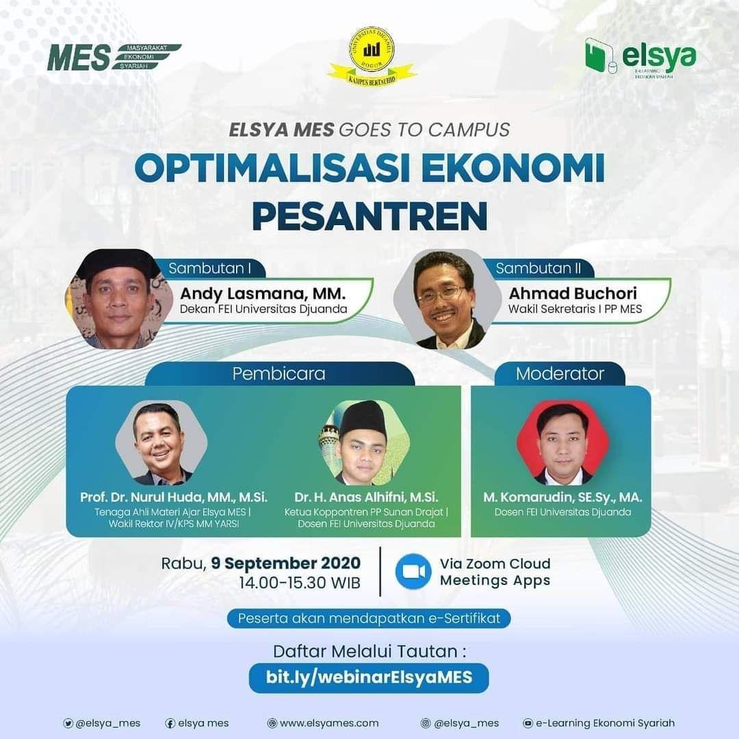 Webinar - Elsya Mes Goes to Campus : Optimalisasi Ekonomi Pesantren