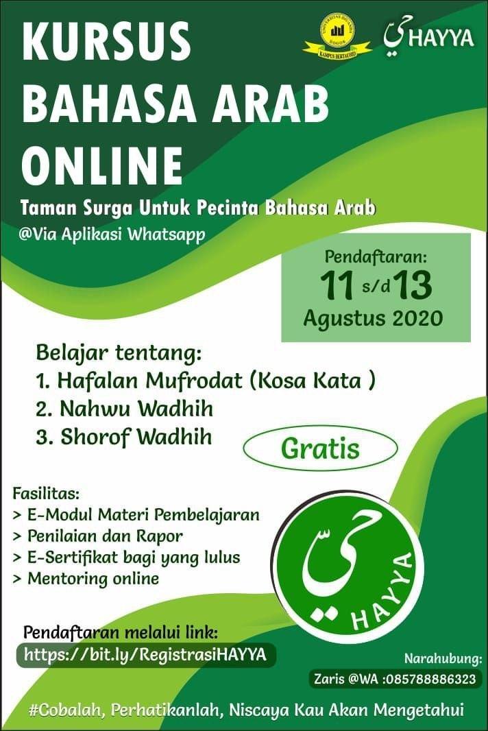 Informasi Kursus Bahasa Arab Online