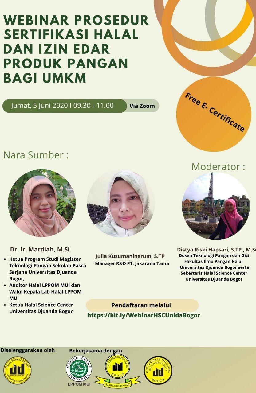 Webinar - Prosedur Sertifikasi Halal dan Izin Edar Produk Pangan Bagi UMKM