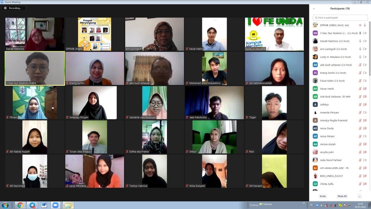 FE UNIDA Bogor Selenggarakan Webinar, Kupas Prospek  Peluang Karir Prodi Manajemen dan Akuntansi