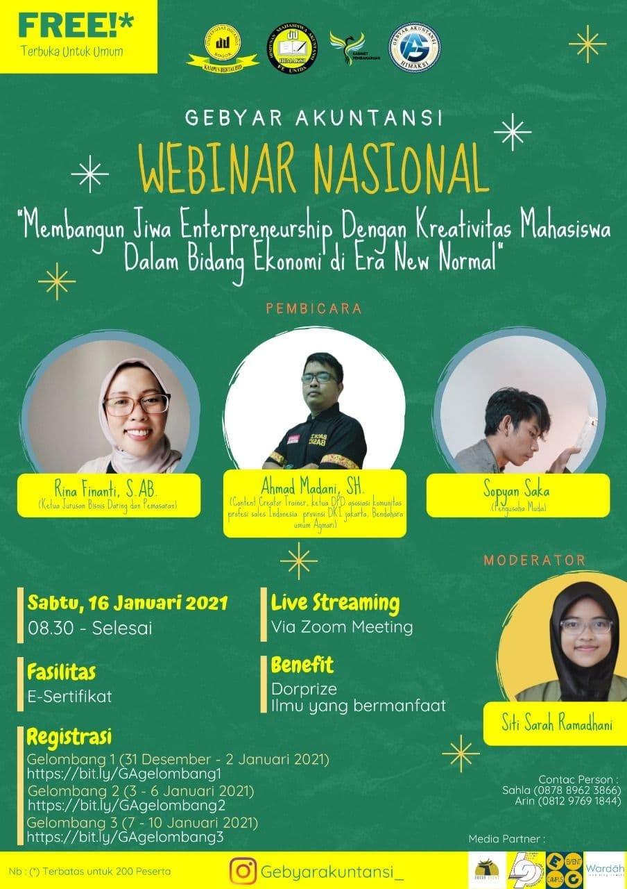 Webinar Nasional - Membangun Jiwa Entrepreneurship Dengan Kreativitas Mahasisa Dalam Bidang Ekonomi di Era New Normal