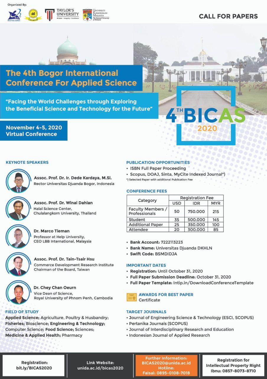 Call For Papers - The 4th Bogor International Conference for Applied Science