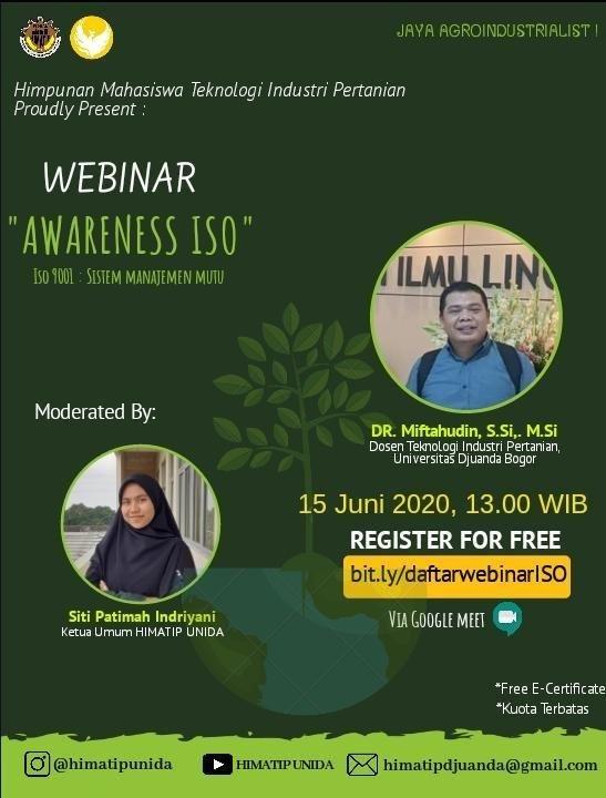 Webinar - Awareness ISO: ISO 9001 Sistem Manajemen Mutu