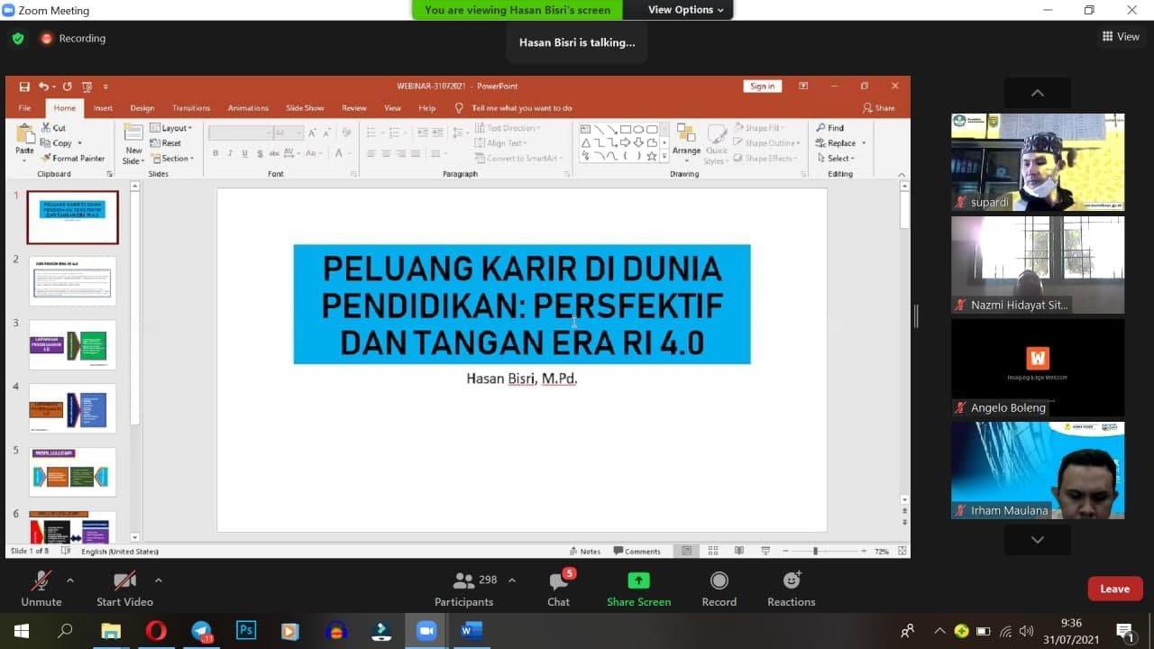 Menjawab Peluang Karir Pendidikan di Era Revolusi Industri 4.0, FKIP UNIDA Bogor selenggarakan Webinar Pendidikan