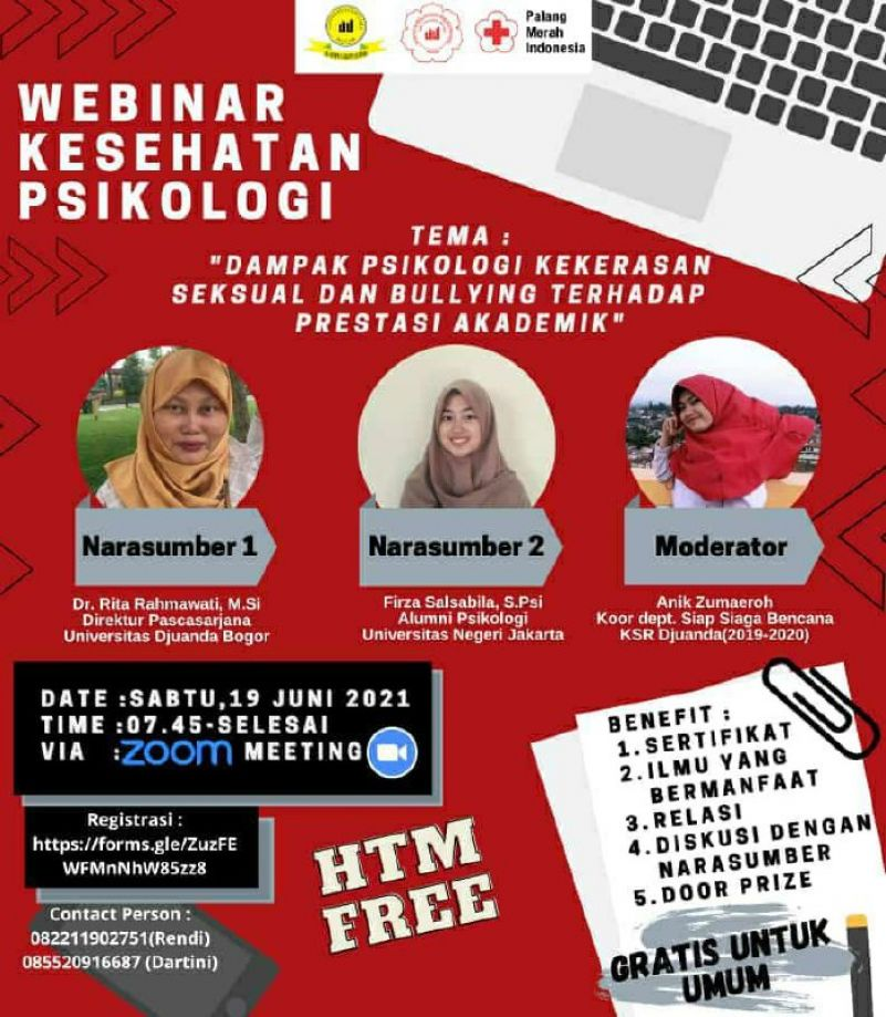 Webinar Kesehatan Psikologi - Dampak Psikologi Kekerasan Seksual dan Bullying Terhadap Prestasi Akademik