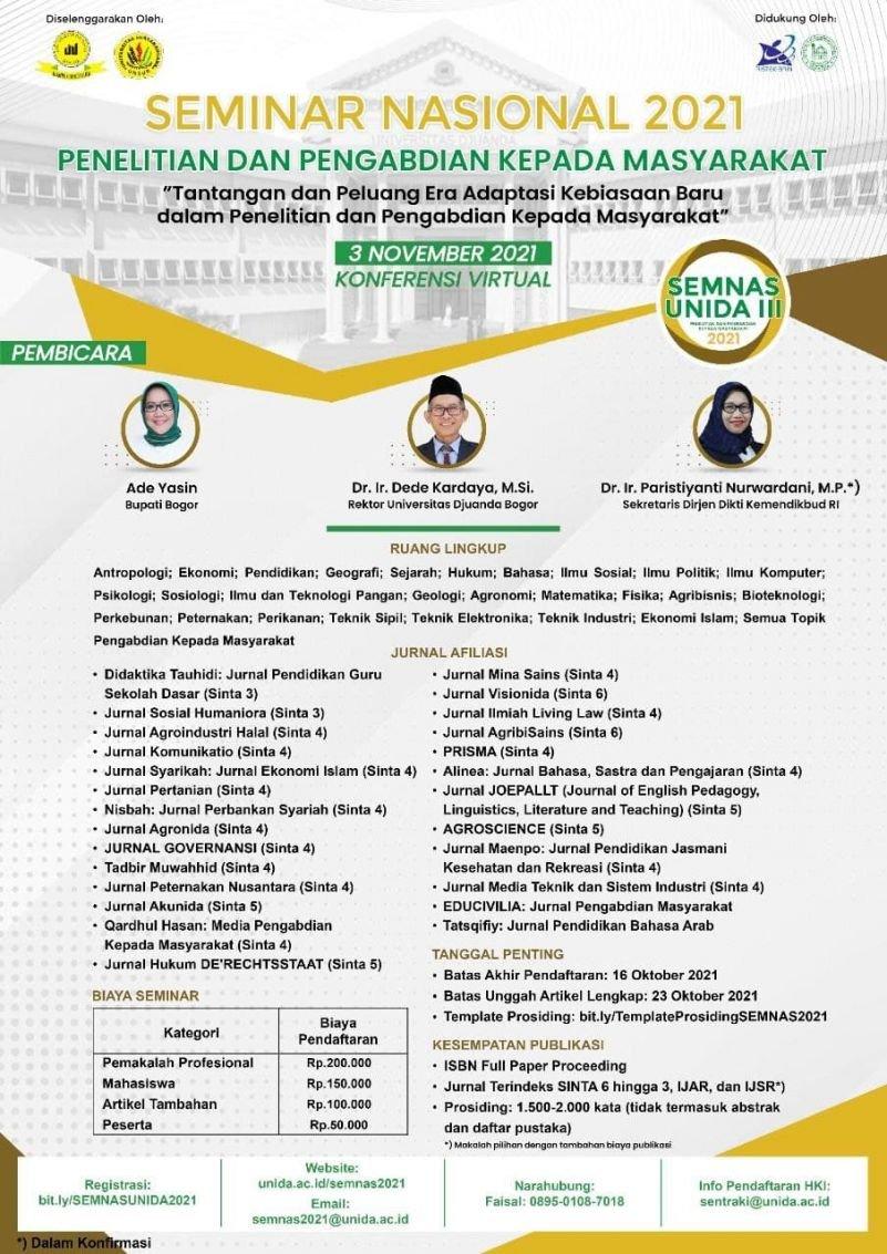 Seminar Nasional 2021 Penelitian dan Pengandian kepada Masyarakat