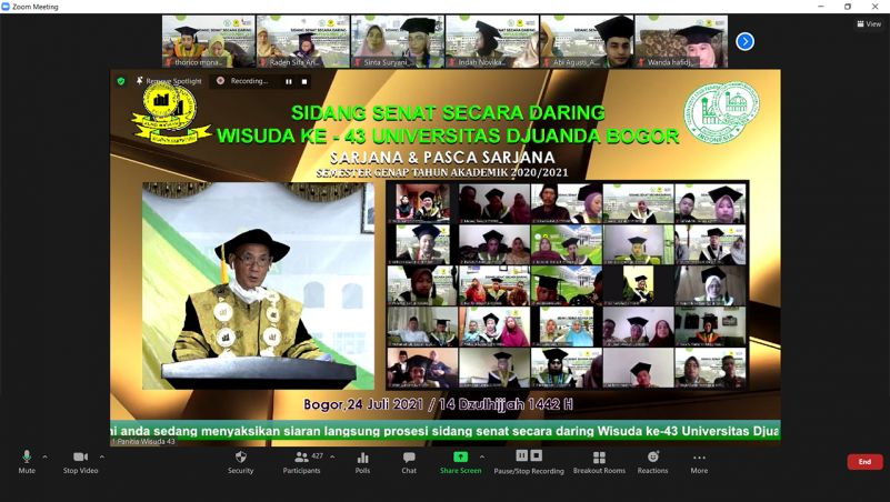 UNIDA Bogor Gelar Sidang Senat Secara Daring, Luluskan 371 Wisudawan