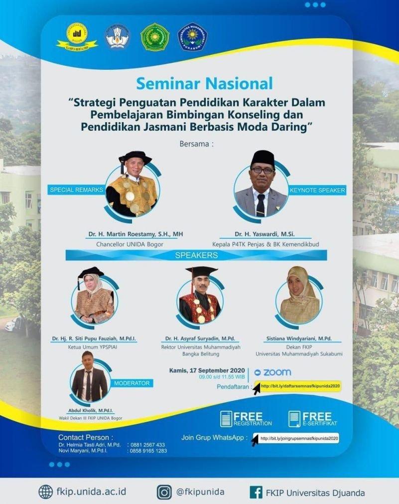Seminar Nasional - Strategi Penguatan Pendidikan Karakter dalam Pembelajaran Bimbingan Konseling dan Pendidikan Jasmani Berbasis Moda Daring