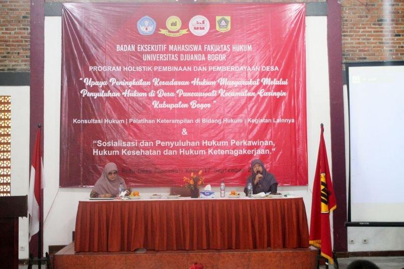 Tingkatkan Kesadaran Hukum Warga Desa Pancawati, BEM Fakultas Hukum UNIDA Bogor Lakukan Sosialisasi dan Penyuluhan Hukum