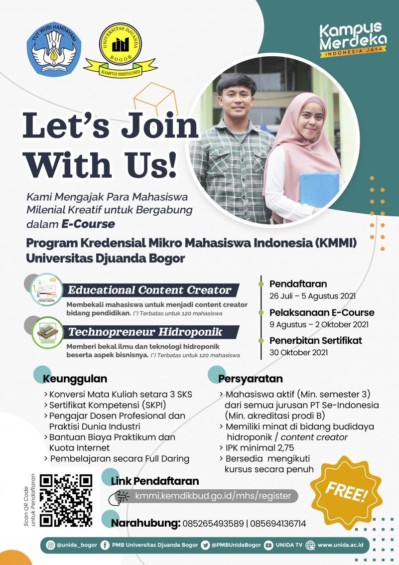 Informasi Program Kredensial Mikro Mahasiswa Indonesia (KMMI) Universitas Djuanda Tahun 2021